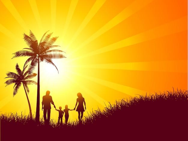 Paysage d'été avec la silhouette d'une marche familiale