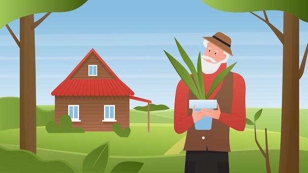 Paysage d'été avec vieux jardinier près de fond de maison de ferme de village