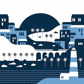 Paysage d'été de la ville balnéaire avec un phare dans un style plat