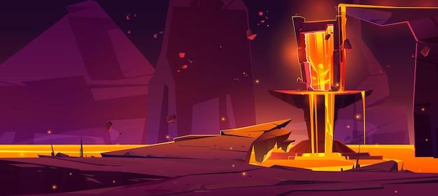 Paysage fantastique avec lave et portail magique