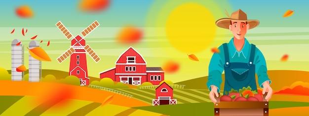 Paysage de ferme d'automne biologique avec jeune agriculteur, moulin, soleil jaune, collines verdoyantes, grange