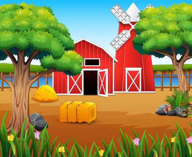 Paysage de ferme avec cabanon et moulin à vent sur la rive du fleuve