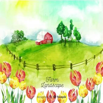 Paysage de ferme dans un style aquarelle