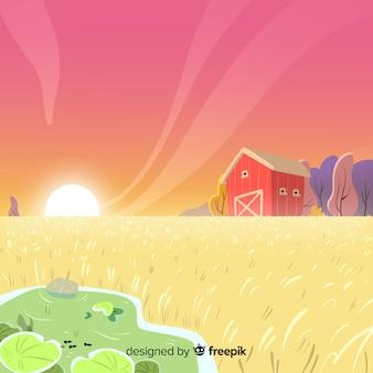 Paysage de ferme de dessin animé