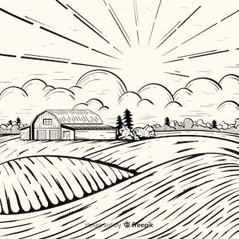 Paysage de ferme dessiné à la main