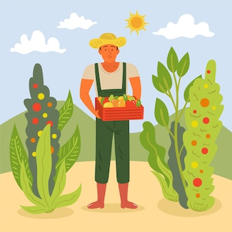 Paysage de ferme homme tenant un panier avec des légumes