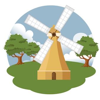 Paysage de ferme de moulin à vent