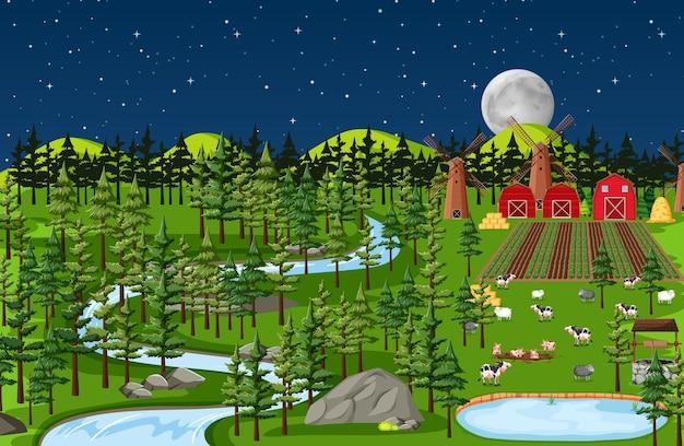Paysage de la ferme à la scène de nuit