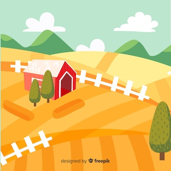 Paysage de ferme en style cartoon