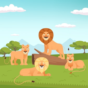 Paysage de fierté de lion. illustration de chasseurs d'animaux à fourrure sauvage