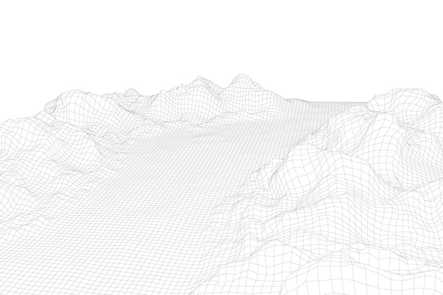 Paysage filaire abstrait vector