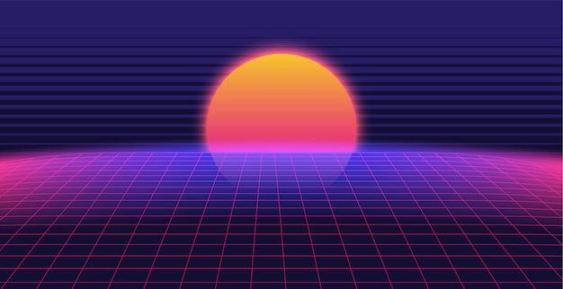 Paysage de fond 3d synthwave des années 80 style