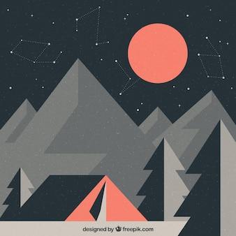 Paysage fond géométrique avec tente dans le style vintage