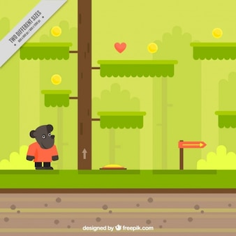 Paysage de fond avec un personnage de jeu vidéo