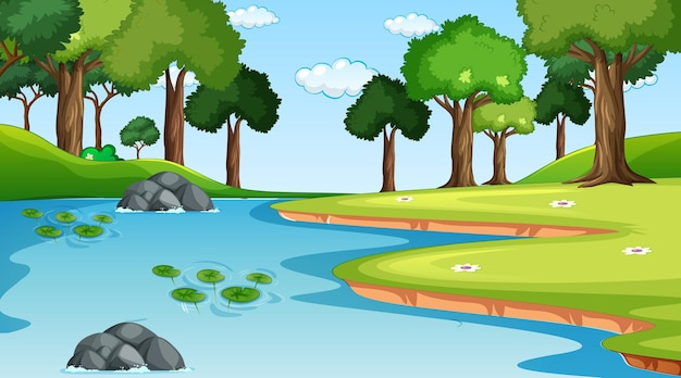 Paysage forestier naturel à la scène de jour avec rivière qui traverse la forêt