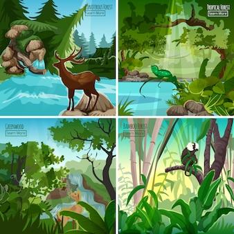 Paysage de forêt 4 place d'icône plate