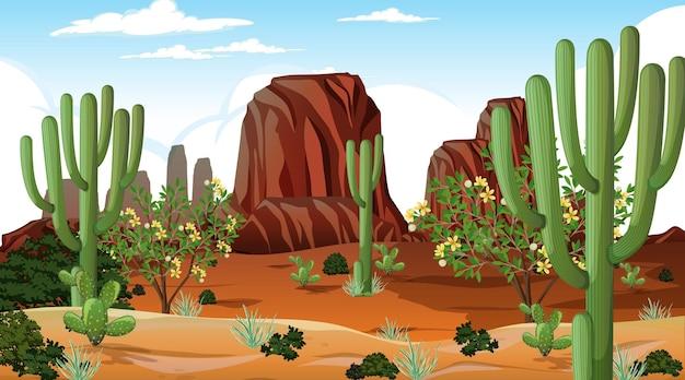Paysage de forêt désertique à la scène de jour avec de nombreux cactus