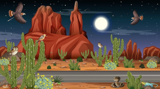 Paysage de forêt désertique en scène de nuit avec des animaux et des plantes du désert