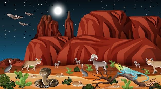 Paysage de forêt désertique en scène de nuit avec des animaux sauvages
