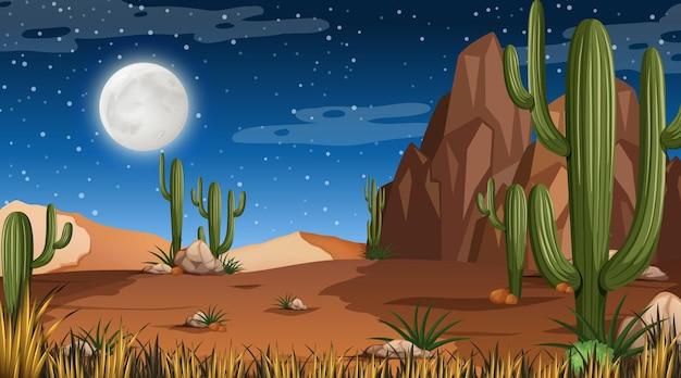 Paysage de forêt désertique en scène de nuit avec de nombreux cactus