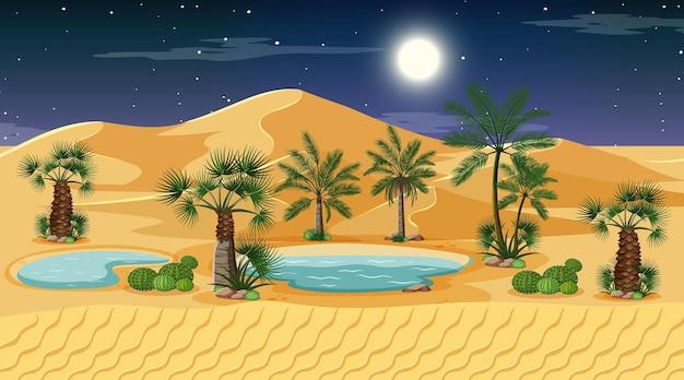 Paysage de forêt désertique en scène de nuit avec oasis
