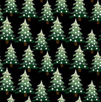 Paysage de forêt d'hiver de noël. motif et fond sans couture. illustration vectorielle abstraite.