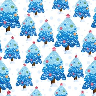 Paysage de forêt d'hiver de noël. motif et fond sans couture. illustration vectorielle mignon.