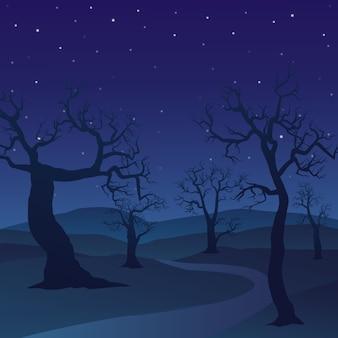Paysage de forêt le jour de la nuit avec des arbres morts