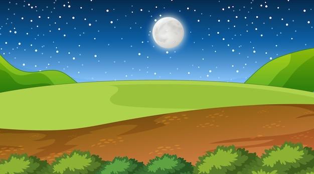 Paysage de forêt de nature à la scène de nuit
