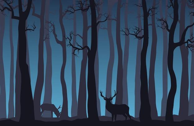 Paysage de forêt de nuit avec des arbres nus et deux cerfs.