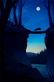 Paysage de forêt de nuit