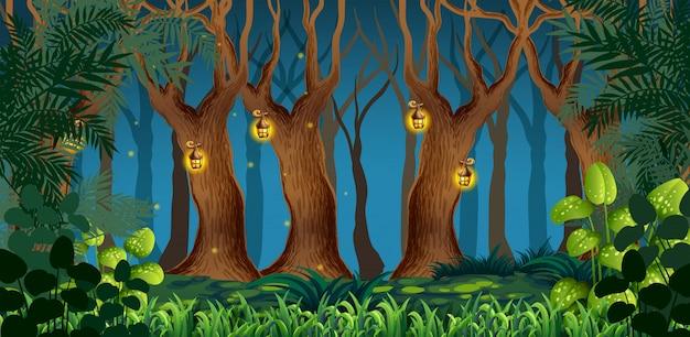 Paysage de forêt sombre féerique