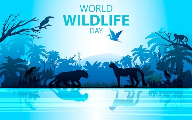 Paysage de forêt tropicale aux couleurs bleues avec léopard, argent, palmier, toucan et rivière.