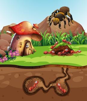Paysage avec des fourmis sous terre