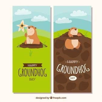 Paysage groundhog bannières jour