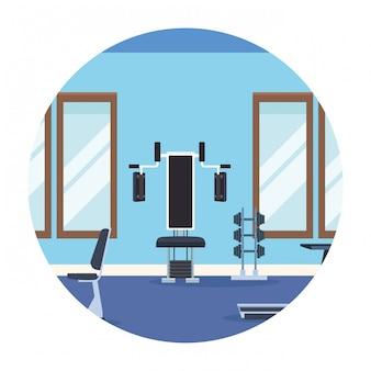 Paysage de gym icône ronde