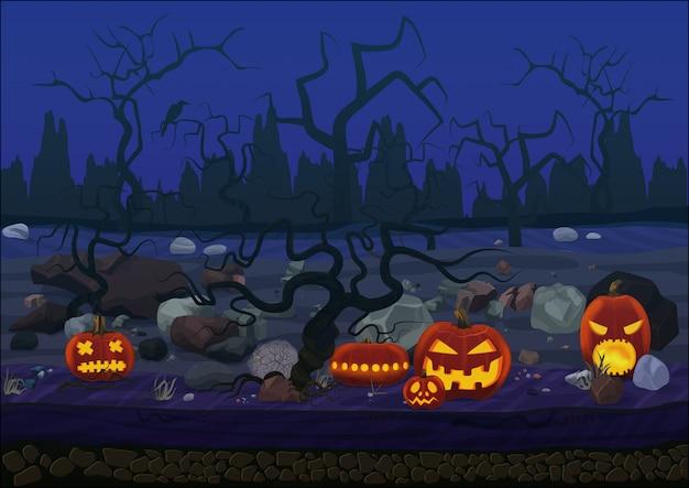 Paysage de halloween horreur effrayant de minuit