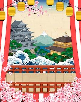 Paysage historique japonais traditionnel avec des fleurs de cerisier dans le style ukiyo-e