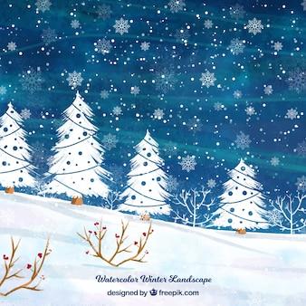 Paysage d'hiver aquarelle avec des arbres