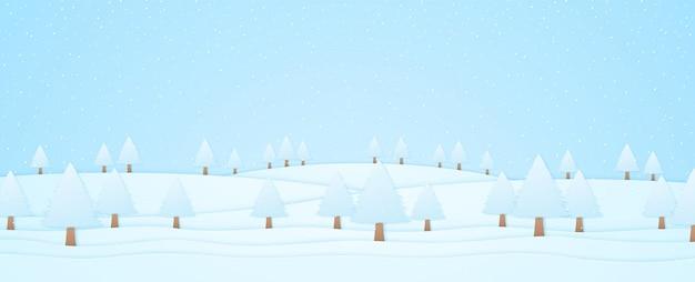 Paysage d'hiver, arbres sur la colline et chute de neige, style art papier