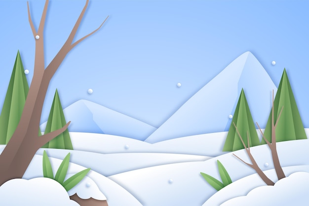 Paysage d'hiver en arrière-plan de style papier