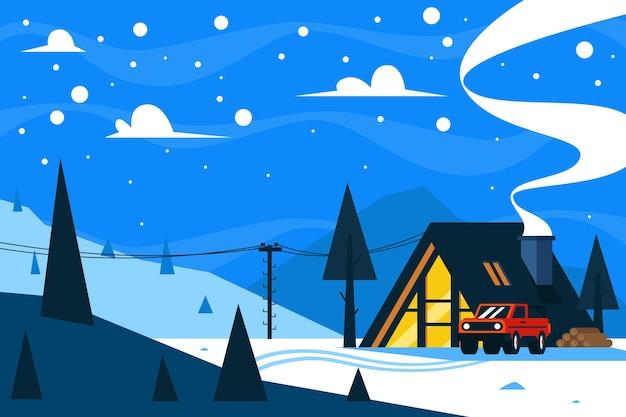 Paysage d'hiver au design plat