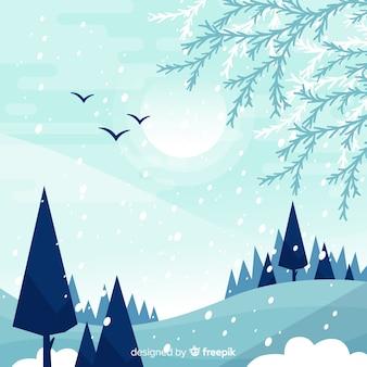Paysage d'hiver aux tons froids