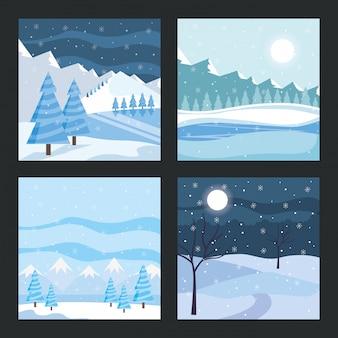 Paysage d'hiver bleu avec des cartes d'arbres