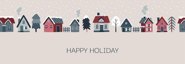 Paysage d'hiver bordure transparente de vecteur avec des maisons confortables sapins vacances de noël