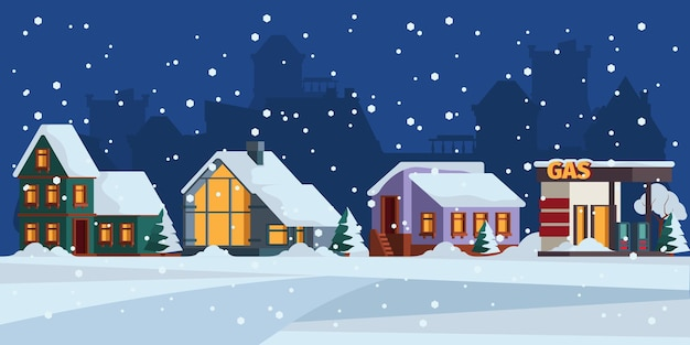 Paysage d'hiver. chalet neige façade paysage de noël vecteur de fond coloré. architecture extérieure de noël, illustration de scène de construction de noël