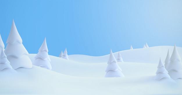 Paysage d'hiver avec des congères et des sapins enneigés. illustration 3d. fond de nature saisonnière