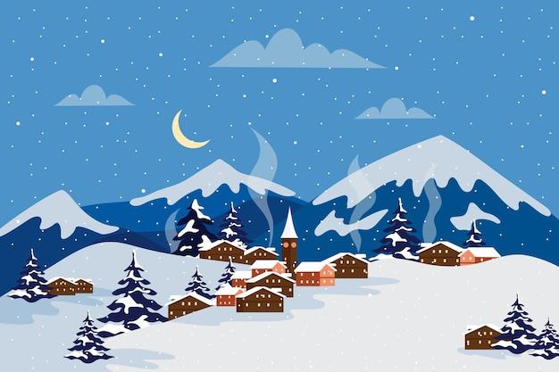 Paysage d'hiver design plat avec des montagnes dans la nuit