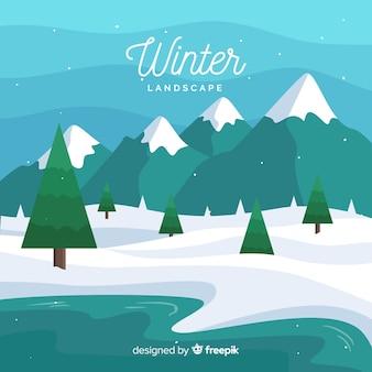 Paysage d'hiver avec un design plat