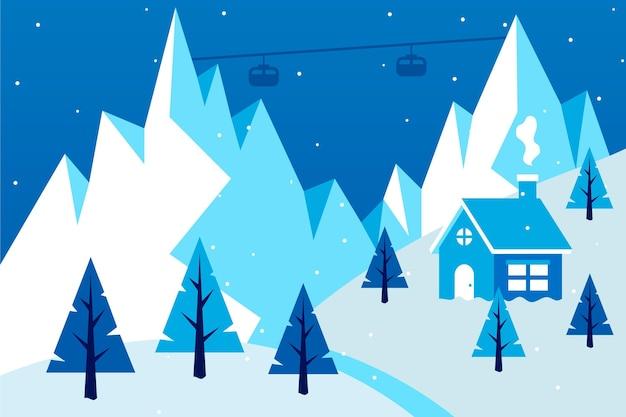 Paysage d'hiver design plat